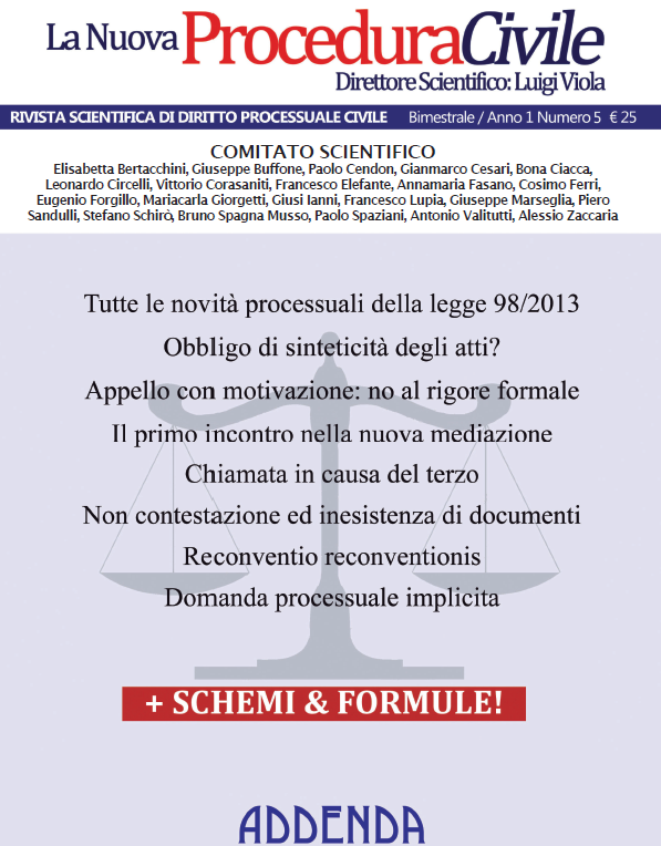 La Nuova Procedura Civile 5 in download per gli abbonati.